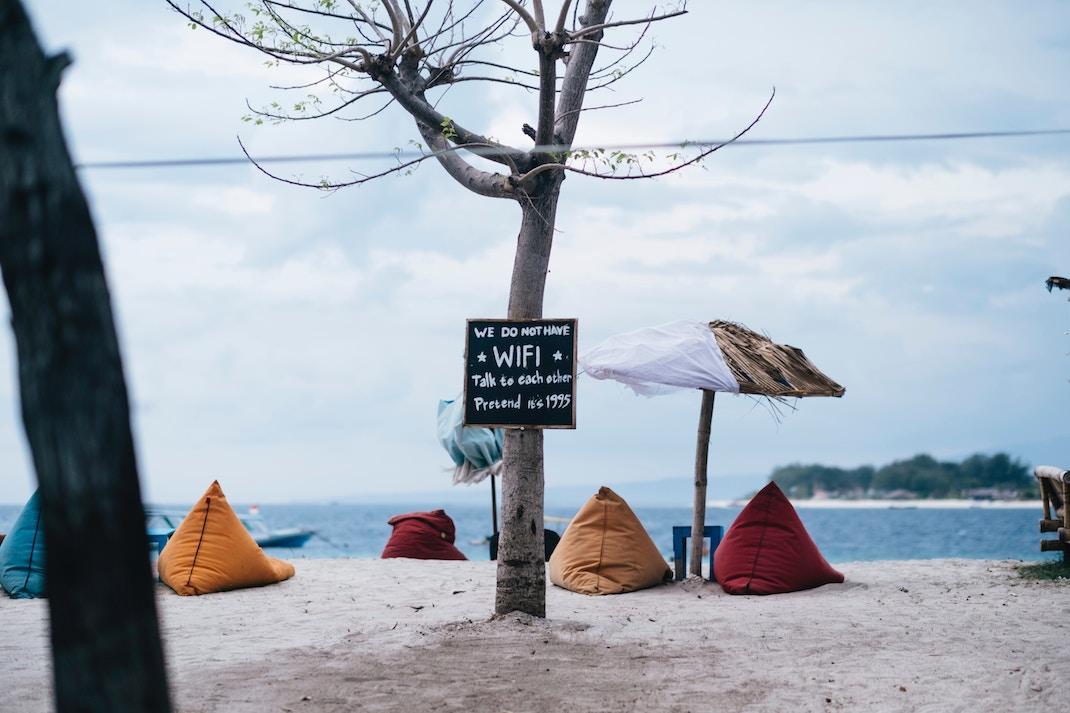 internet en vacances plage
