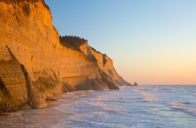 plage sunset beach corfou grece