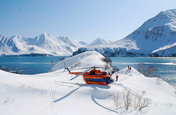 skier en kamchatka russie